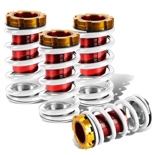 """Image of White/Red/Gold Adjustable Coilovers 1-4"""" Drop"""