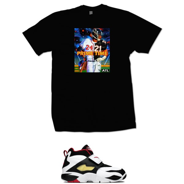Image of DEION SANDERS FALCONS BRAVES PRIME TIME T SHIRT - BLACK