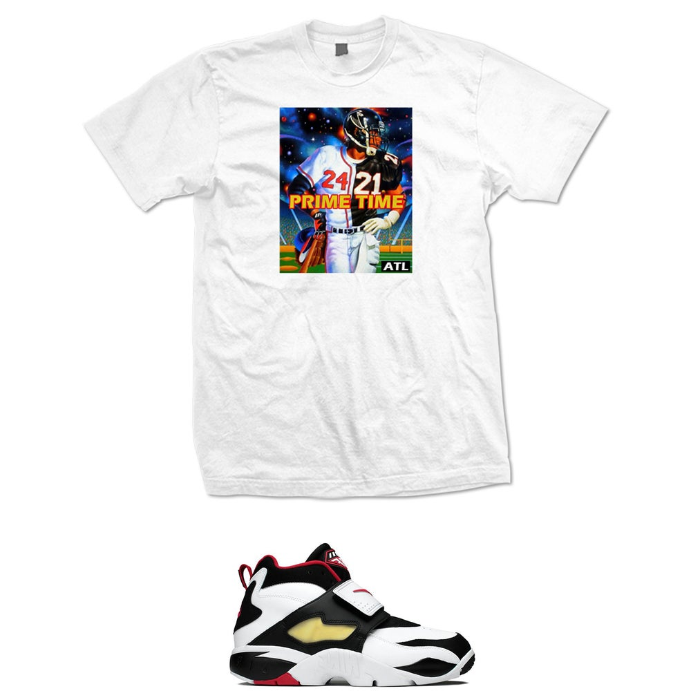 Image of DEION SANDERS FALCONS BRAVES PRIME TIME T SHIRT - WHITE