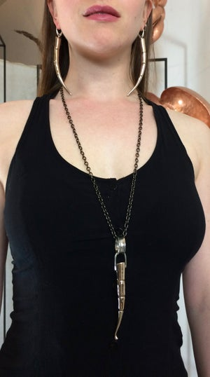 Image of BRONZE TENDRIL PENDANT WITH SILVER LINKS