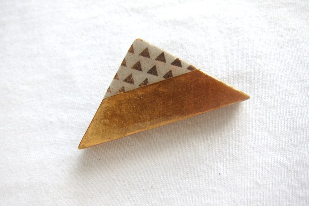 Image of Copper triangles brooch