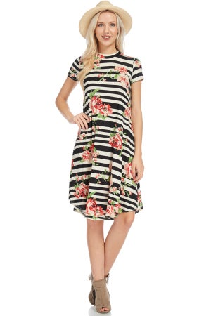 Image of Striped Floral Midi Dress
