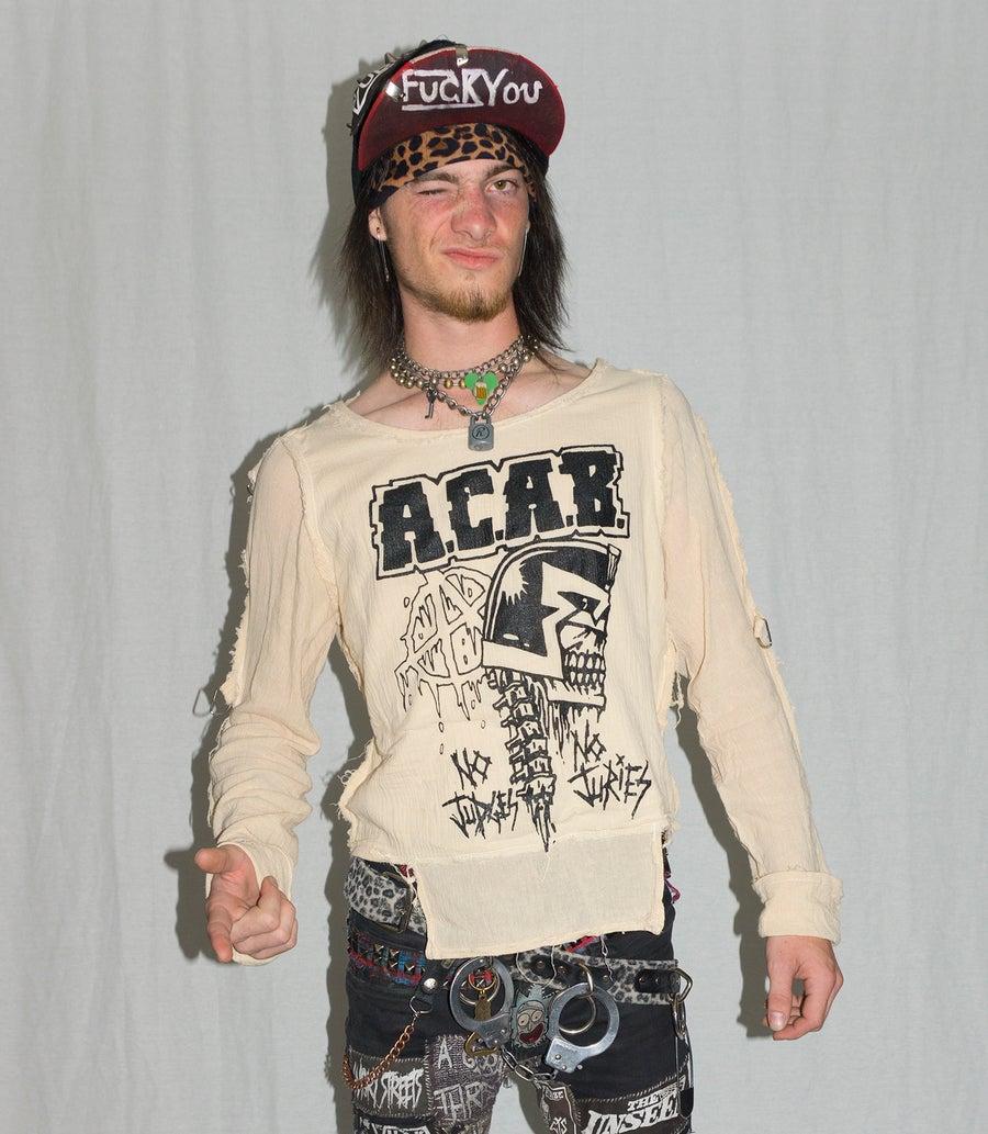 Image of A.C.A.B. bondage shirt on natural white gauze
