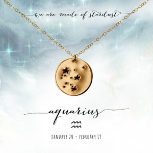 Image of Aquarius Constellation Necklace- 14kt Yellow Gold Fill