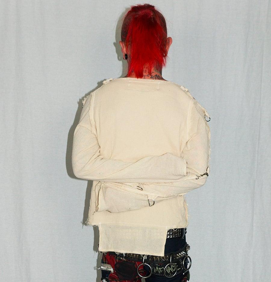 Image of blank white bondage shirt