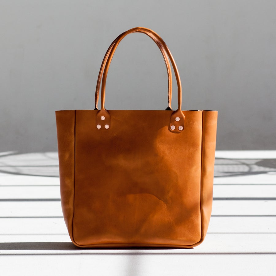 Image of Smaller Tan Italian Leather Carryall Tote
