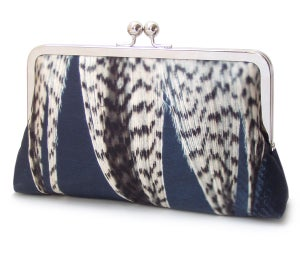 Feather stripe clutch bag, silk purse, blue white - Red Ruby Rose
