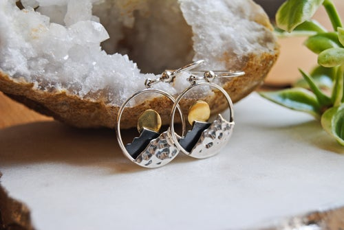 Image of Mixed metal mountain peak earrings