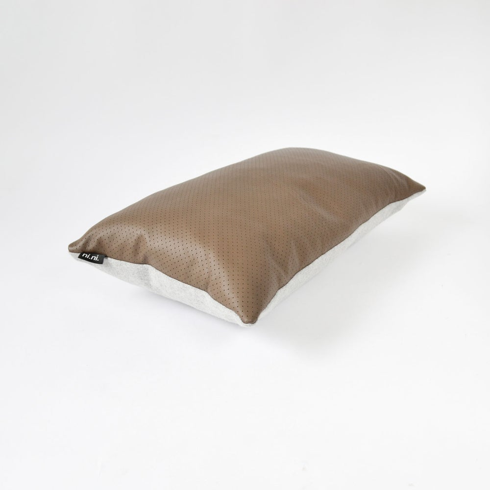 Image of NEW! Leather Chocolate Dotty Cushion Cover - Lumbar