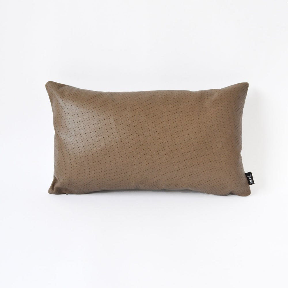 Image of NEW! Leather Chocolate Dotty Cushion Cover - Rectangular