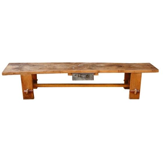 Image of Mesa / banco rústico de madera con cajón de metal / Francia / s. XX