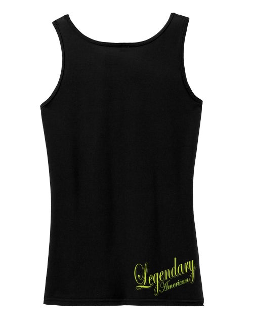 Image of Legendary American Womens Script 1 tank top - gold print
