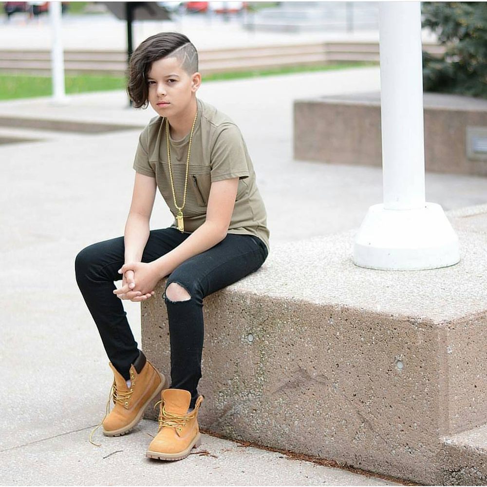 Image of BOYS BLACK DISTRESSED SKINNY JEANS