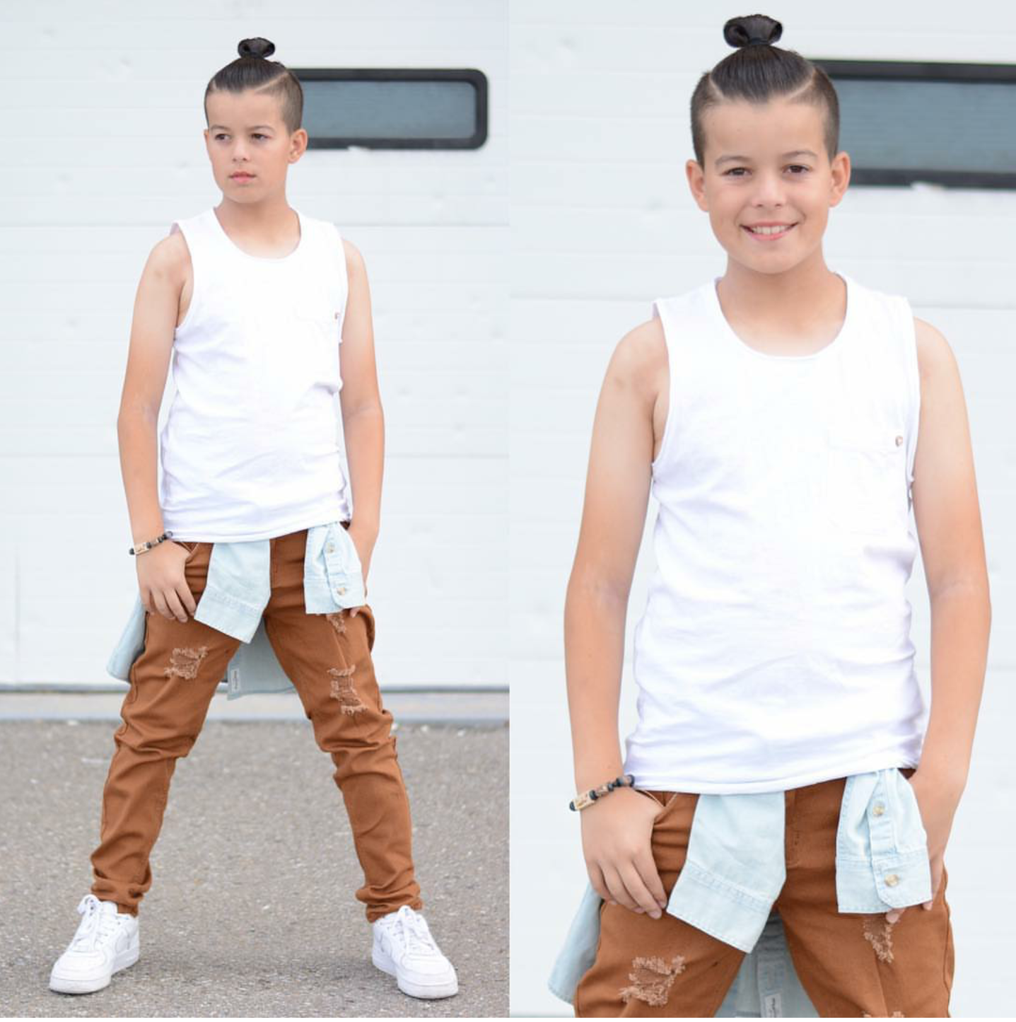 Image of BOYS COPPER DISTRESSED SKINNY JEANS