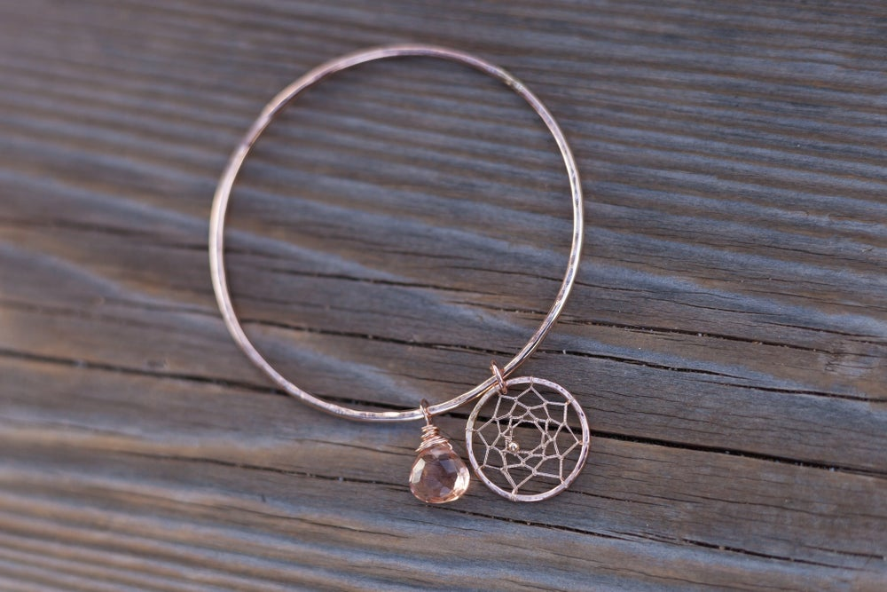Image of Rose Gold Filled Kaha'i Bangle with Morganite Quartz