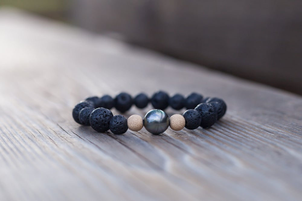 Image of Lava Bead Diffuser Bracelet with Tahitian Pearl