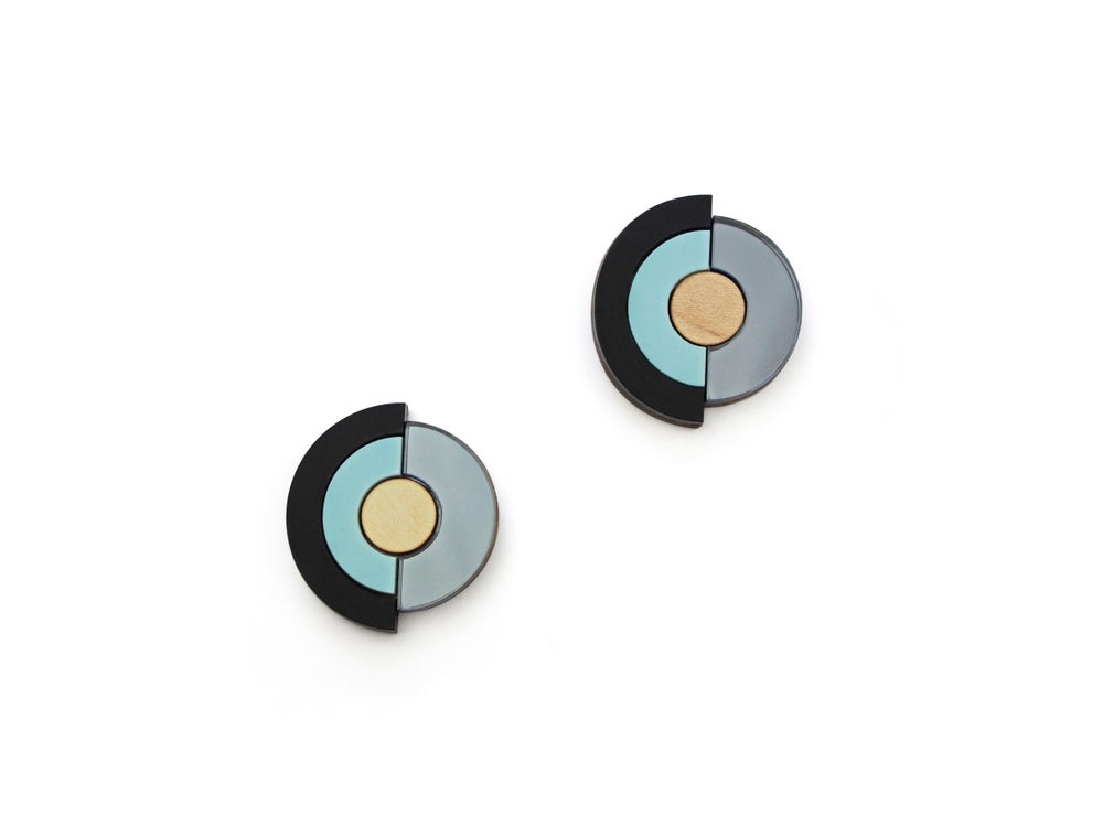 Image of Concentric Circle Earrings - Pastel Blue