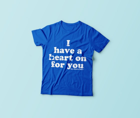 Image of Retro Heart On Tee - Royal Blue