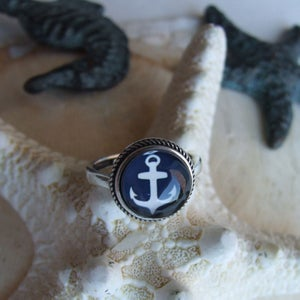 Image of Anchors Aweigh Ring (Small) - Navy
