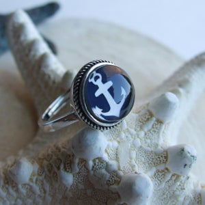 Image of Anchors Aweigh Sterling Ring (Small) - Navy