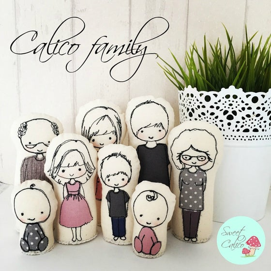 Image of Custom calico family dolls