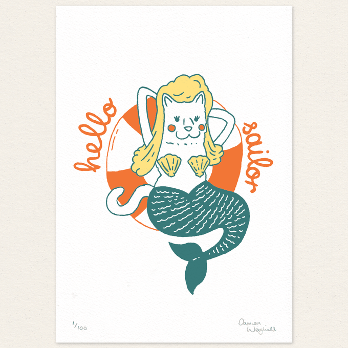 Image of Cat Mermaid - Letterpress Print