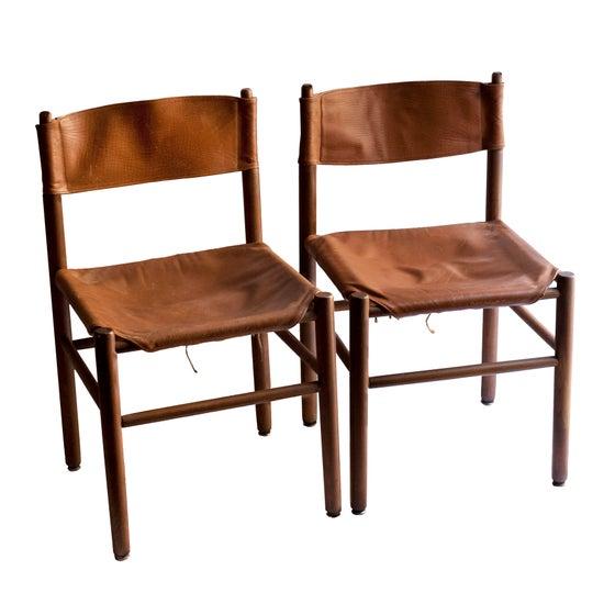 Image of Pareja de sillas cuero / Francia / Años 70