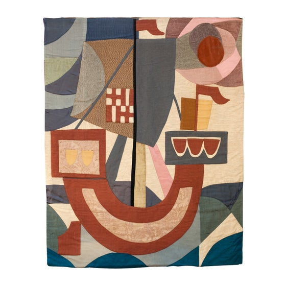 Image of Tapiz patchwork motivo carabela / Francia / Años 50