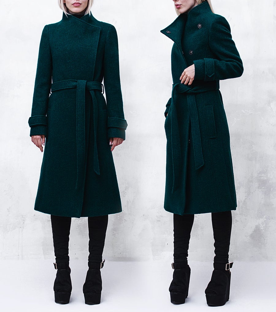 Image of Green Wool-Blend Coat with Funnel Neck and Belt