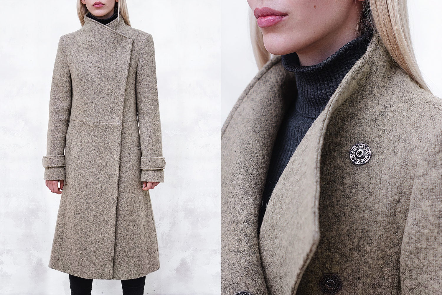 Image of Melange Wool-Blend Coat with Funnel Neck and Belt