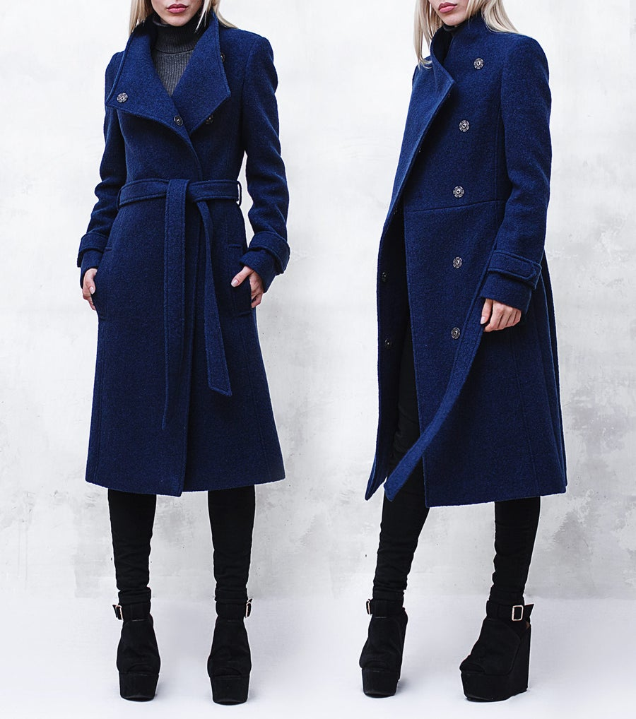 Image of Cobalt Blue Wool-Blend Coat with Funnel Neck and Belt