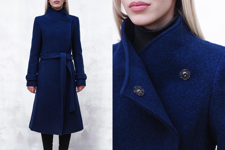 Image of Cobalt Blue Wool-Blend Coat with Funnel Neck and Belt