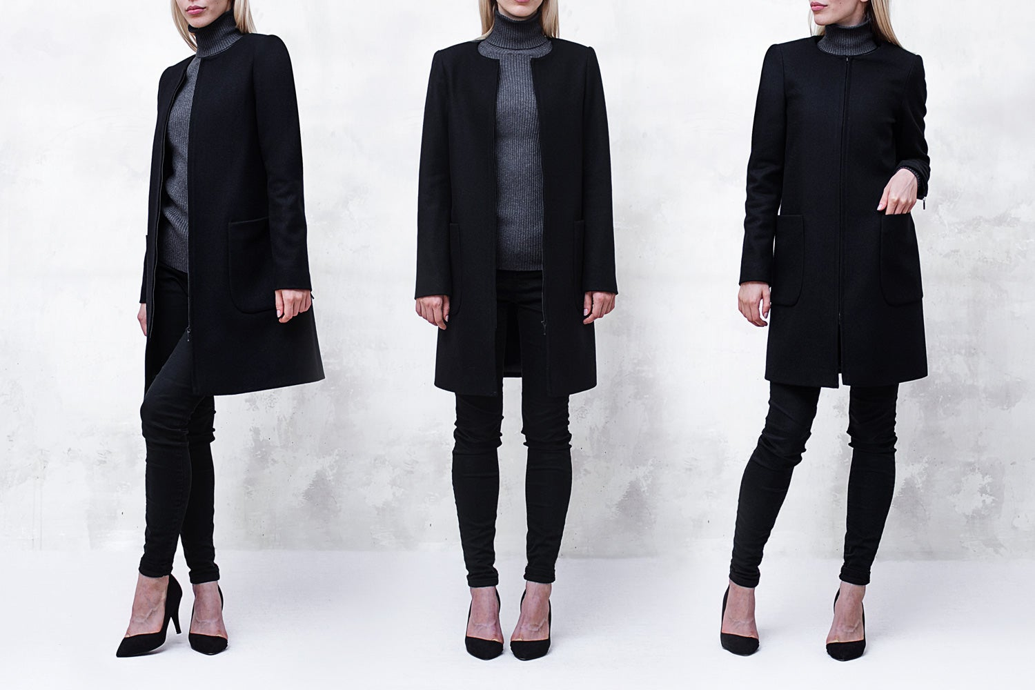 Image of Black Melton Collarless Bomber Coat