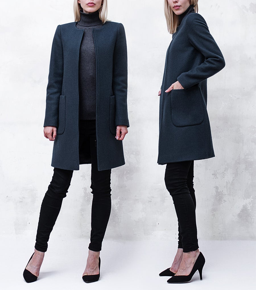 Image of Slate Gray Melton Collarless Bomber Coat