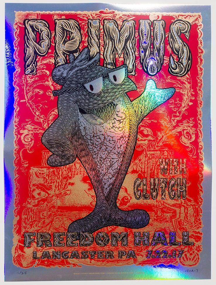 Image of Primus Tour Poster: Fish On (Variant: Rainbow Foil)