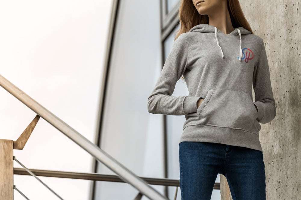 Image of Grey Small Coloured Logo Hoodie - Unisex