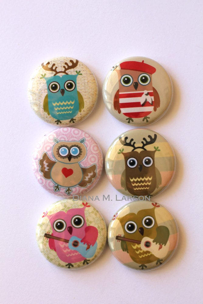 "Image of OWL 1"" Flair buttons SETS 1-5"
