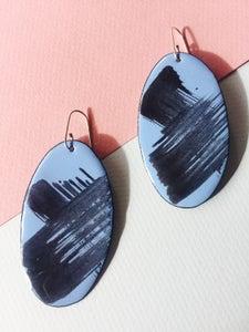 Image of Brush stroke earrings in pale blue