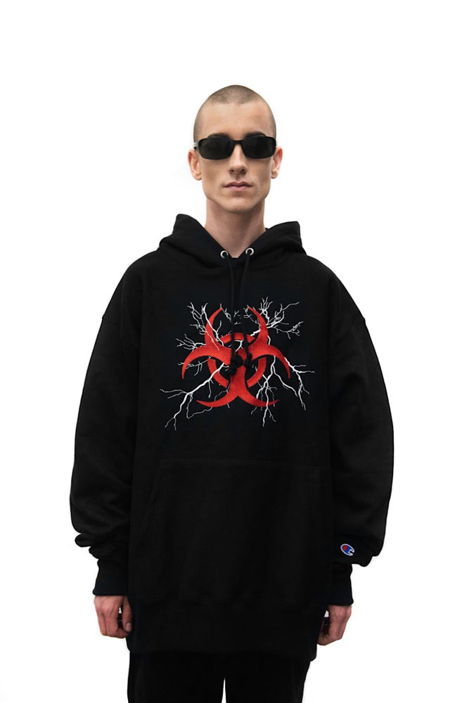 Image of Black Oversized Embroidered Biohazard Champion Reverse Weave® Hoodie