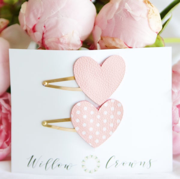 Image of Signature Pink Leather Heart Clip Duo