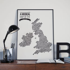 Image of Musical Map of the British Isles - A3 (unframed)