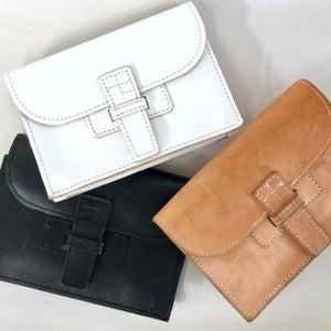 Image of NEW!!! BELT SAC - A Clutch with a removable Belt in Natural, White, Black, Navy, Whiskey