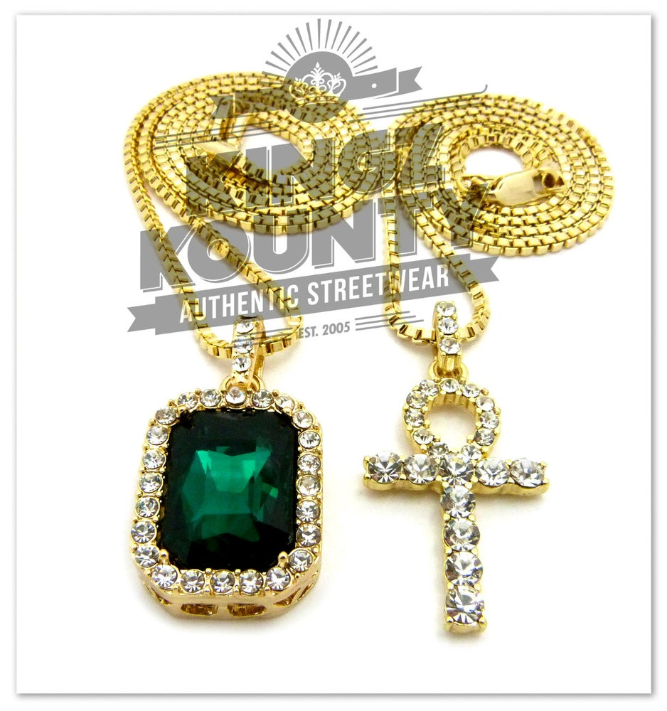 Image of ICED OUT AHNK NECKLACE w/ GREEN EMERALD CHARM