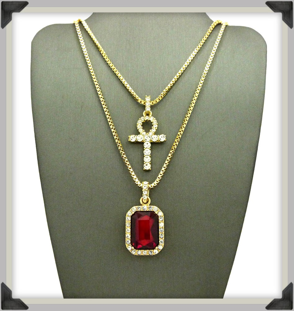 Image of ICED-OUT-AHNK-RED-SAPPHIRE-CHARM