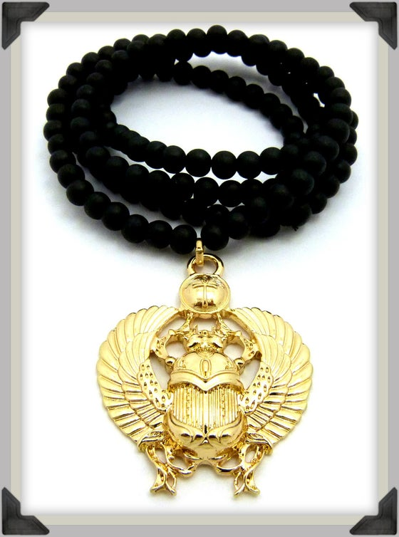 Image of GOLD-KHEPRA-BLACK-BEADS