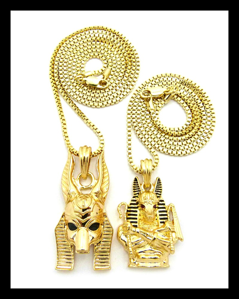 Image of DOUBLE-ANPU-GOLD-PENDANTS-BOX-CHAINS