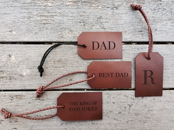 Image of Father's Day Collection ETCHED LEATHER TAGS