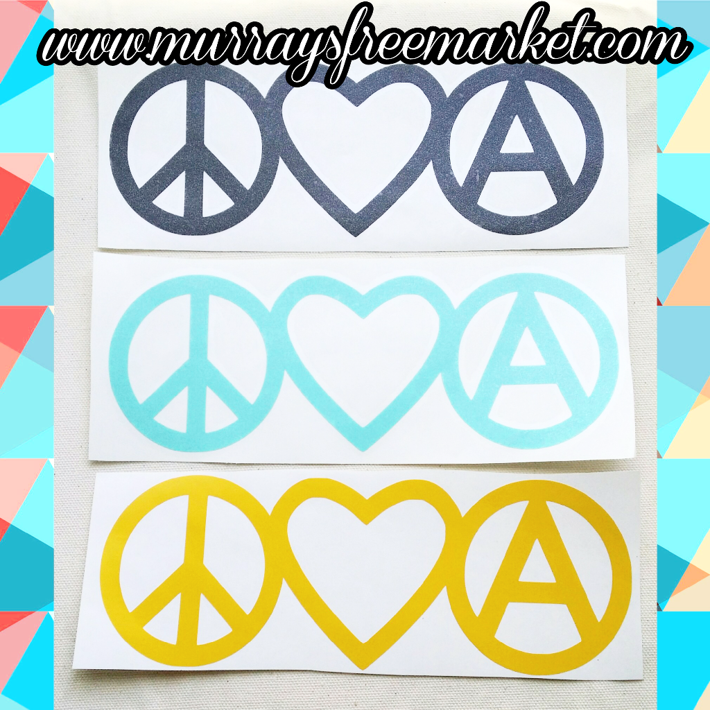 Image of Peace Love Anarchy vinyl decal