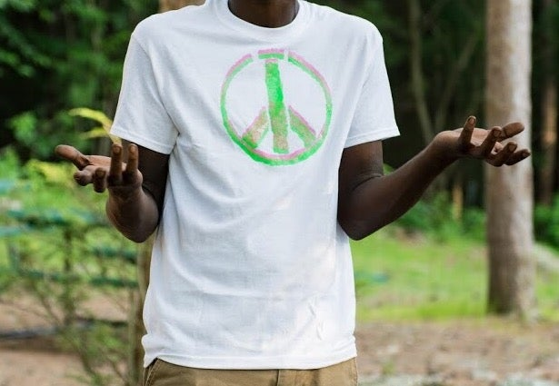 Image of Pink and Green Peace Sign Shirt