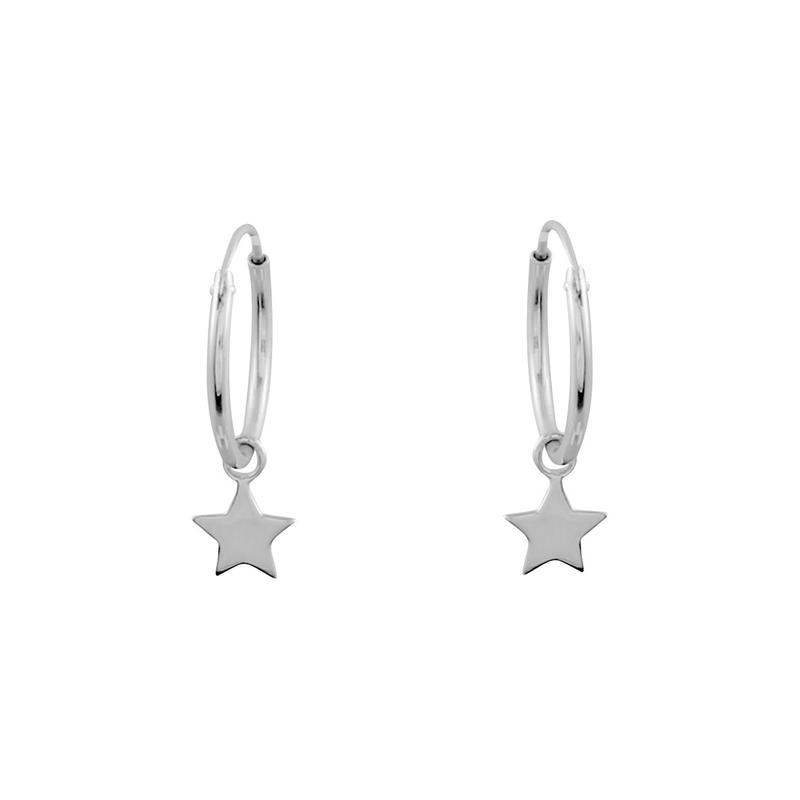 Image of Sterling Silver Star Light Hoops